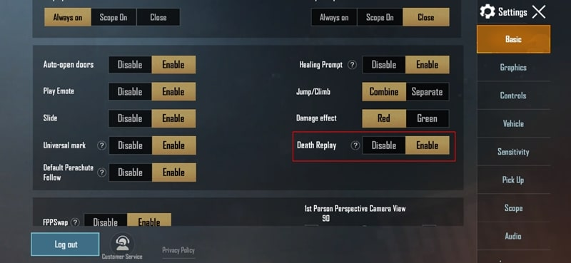 PUBG Death Replay Enable